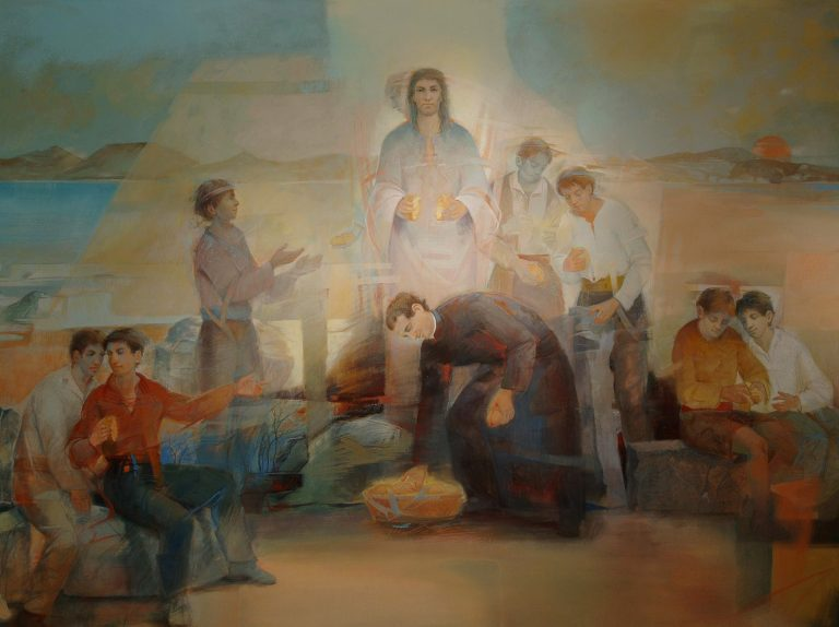 And he commanded the people to sit down on the ground: and he took the seven loaves, and gave thanks, and brake, and gave to his disciples to set before them; and they did set them before the people.